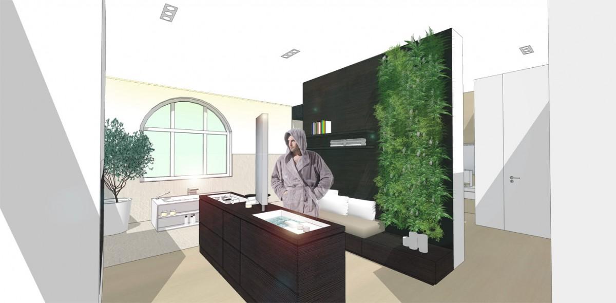 freistehender Waschtischblock, alternative Wandgestaltung Badezimmer, Livingbad