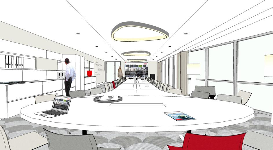 Konferenzraumgestaltung mit Teeküche, Lichtplanung Konferenzraum