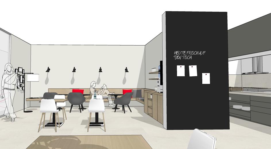 Loungebereich Kantine, Kaffeebereich Kantine, Tafelwand